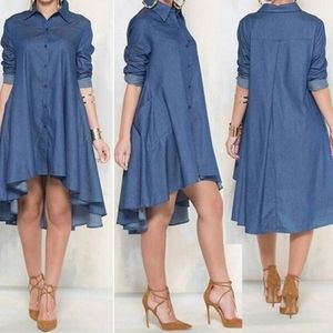 Dresses & Skirts - NEW! Women loose long sleeve jean dress Sz